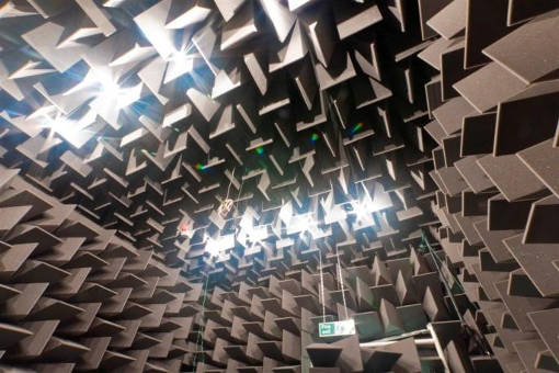 fully anechoic chamber with grey wedges and led lighting